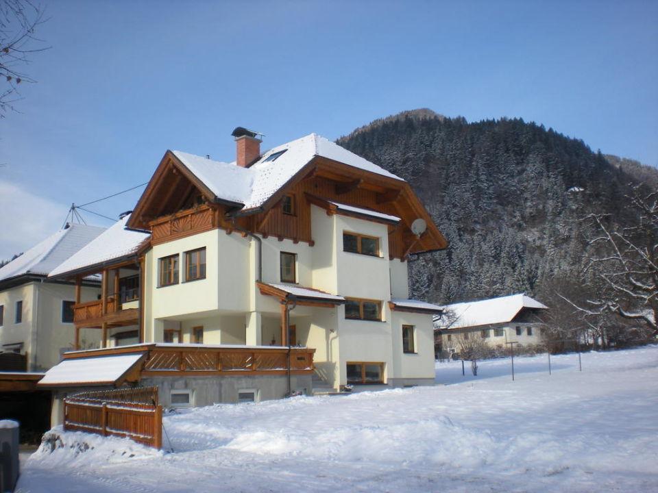 Außenansicht im Winter Haus Gartnerkofelblick