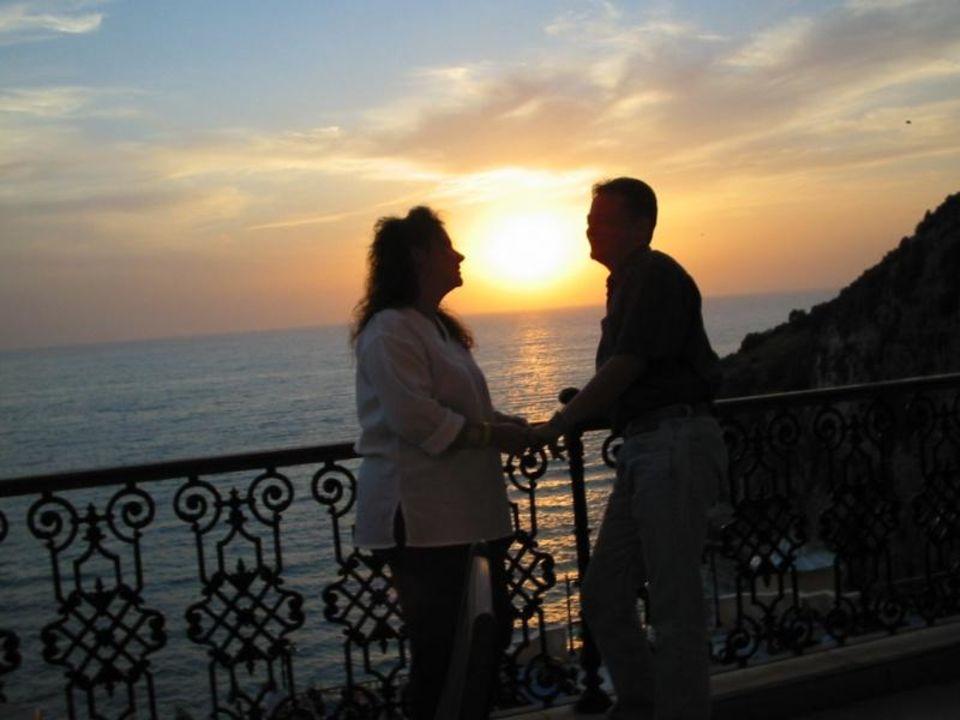 Sonnenuntergang auf der Terrasse Alkoçlar Adakule Hotel