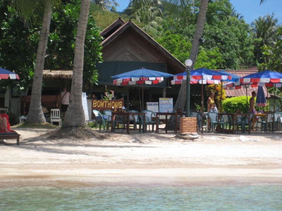Strand vom Wasser aus Hotel Bow Thong Resort