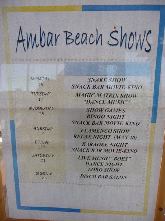Abendprogramm Hotel Ambar Beach