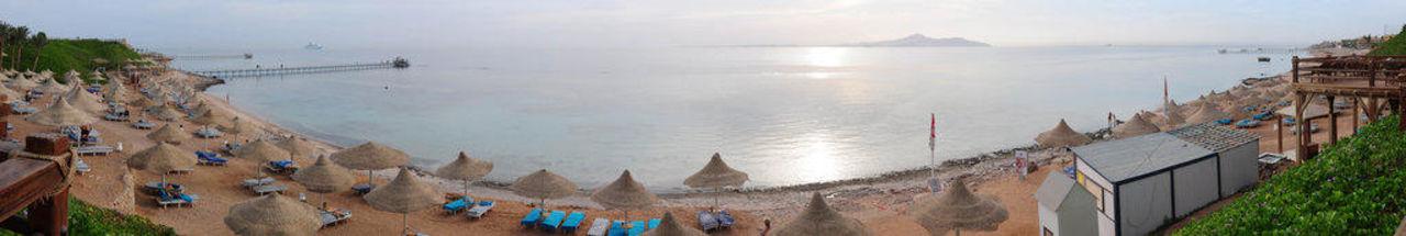 Panorama Strand mit Blick auf Insel Hotel Nubian Island