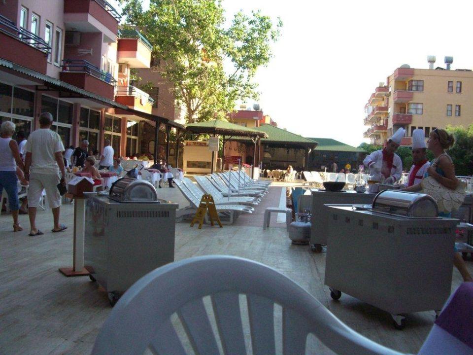 Abendbuffet am Pool des Nebengebäudes Hotel Blue Star