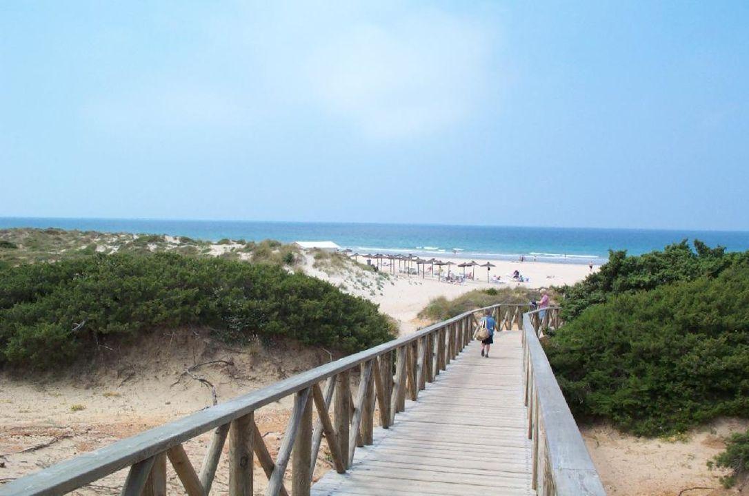 Weg zum Strand, Strandbar sowie teilw. Liegen und Schirme am Hipotels Barrosa Garden
