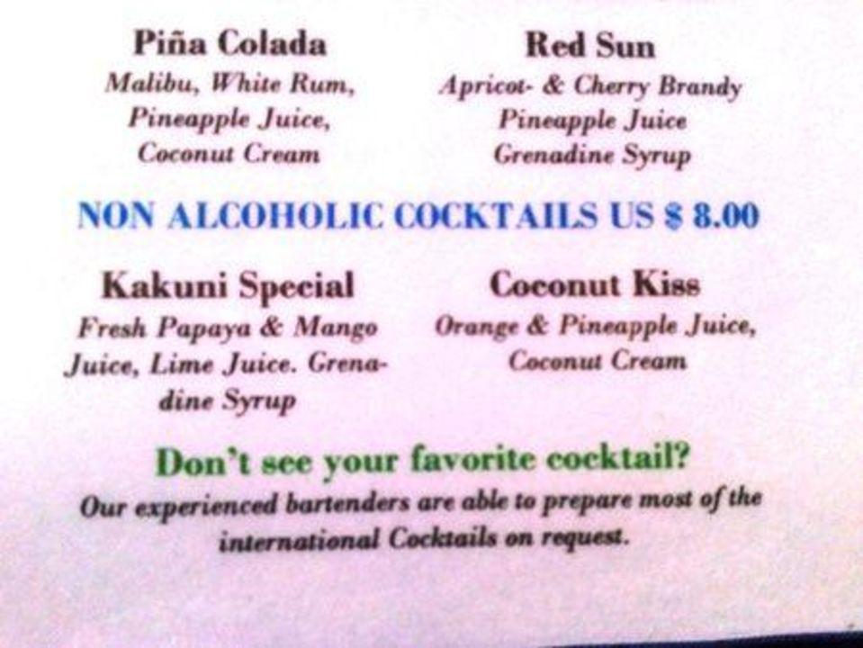 Cocktail Karte.Cocktail Karte Meeru Island Resort Spa Dhifushi Holidaycheck