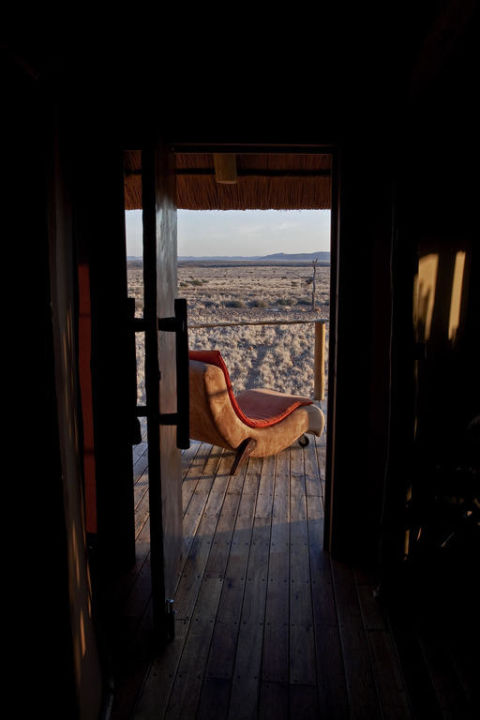 Blick aus dem Chalet Hotel Sossus Dune Lodge