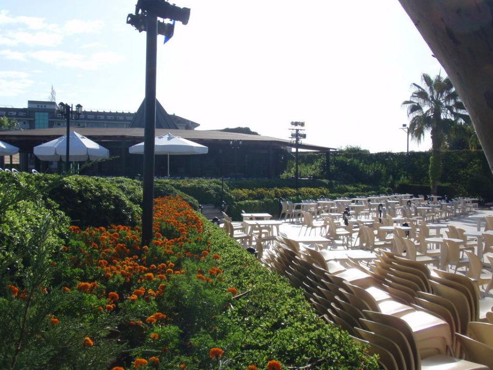 Blick von der Show-Bühne zur Poolbar Paloma Oceana Resort