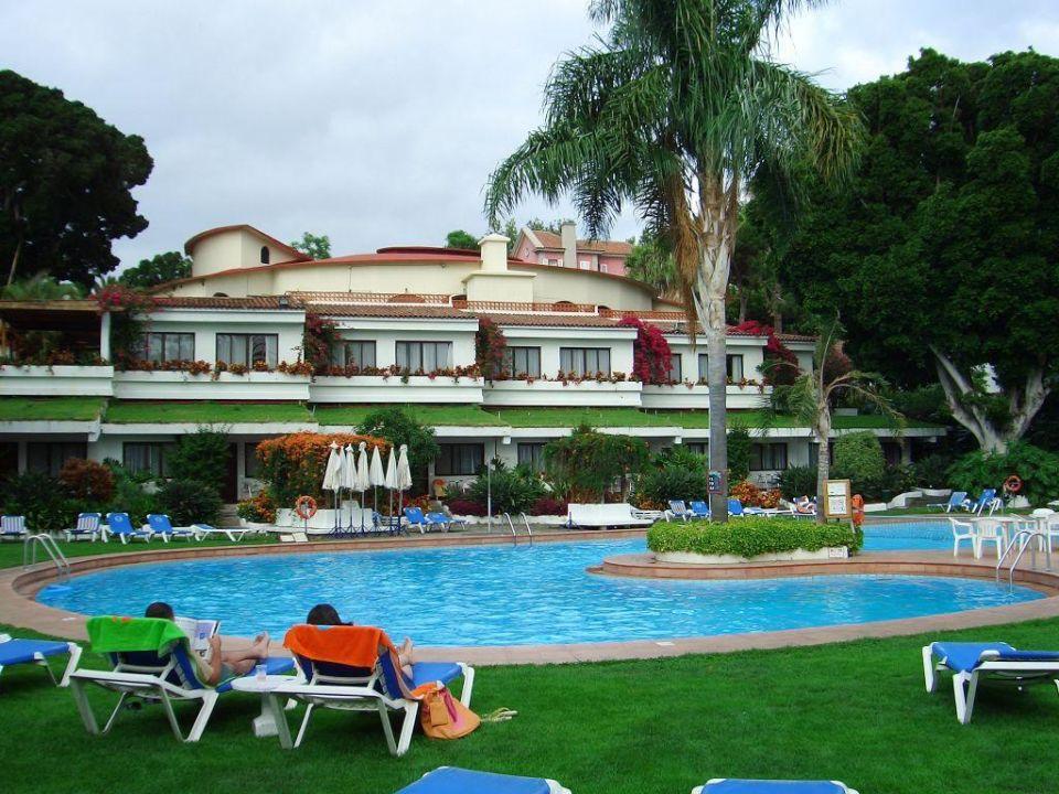 Blick vom Pool auf das Restaurant Hotel Parque San Antonio