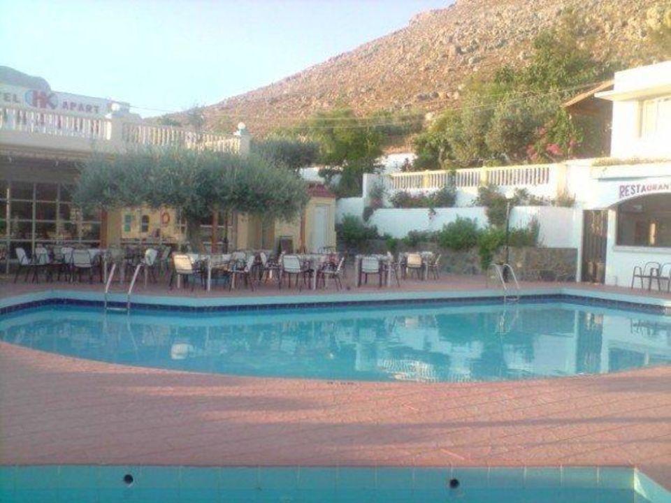 Blick auf den Pool Hotel Karavos