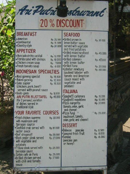 Restaurant Tafel Ari Putri Hotel Sanur Hotel Ari Putri