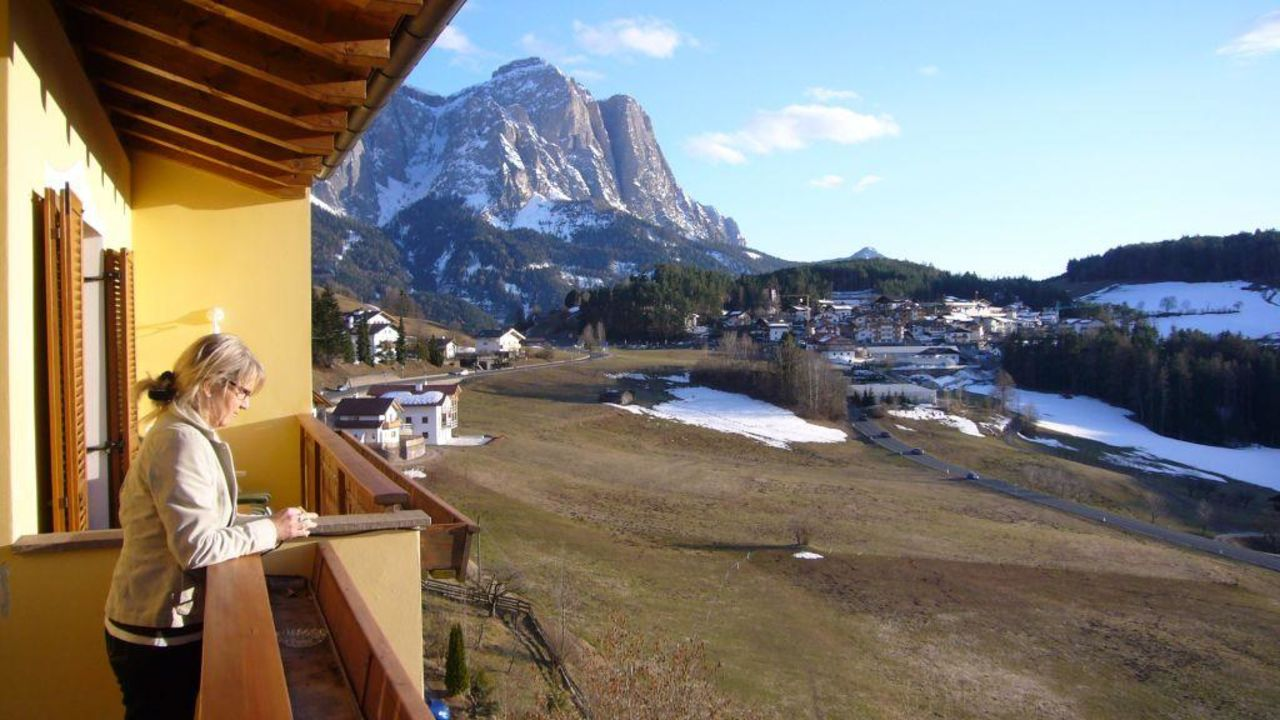 Blick von unserem Balkon auf den Schlern Hotel Alpenflora