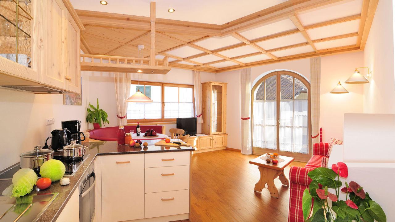 Wohnküche einer Ferienwohnung Röschhof Ferienwohnungen Röschhof