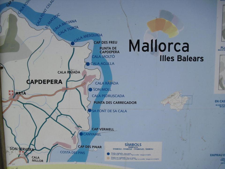 Cala Ratjada Karte.Karte Von Ostkuste Mallorca Lago Garden Cala Ratjada