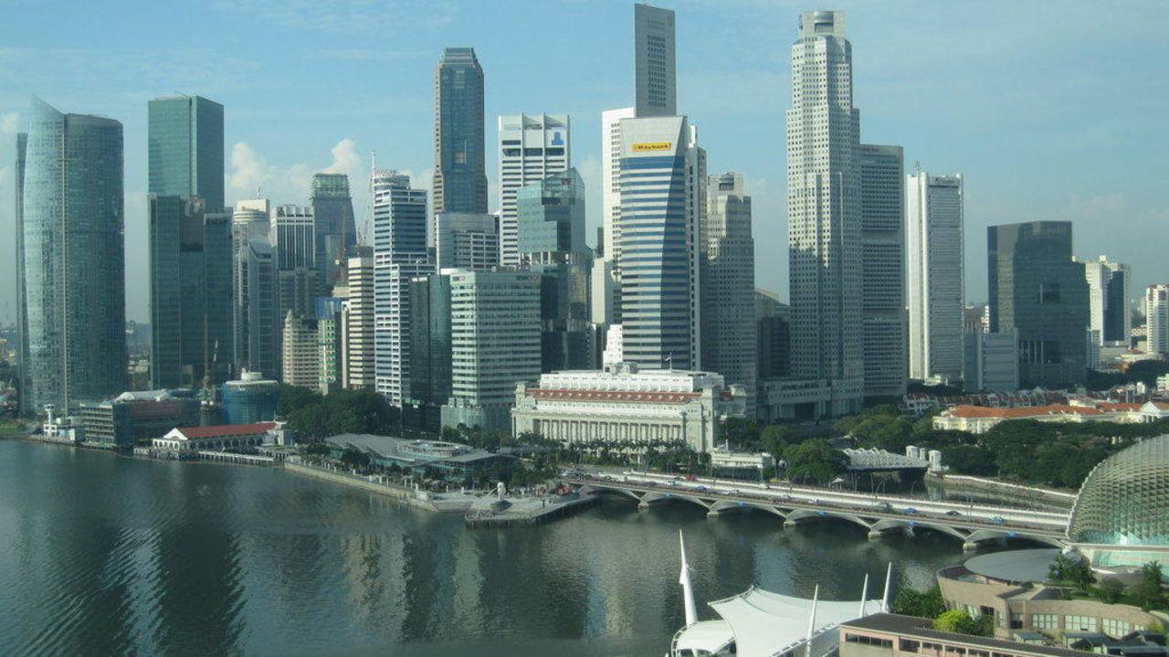 Skyline von Singapore  Hotel The Mandarin Oriental Singapore
