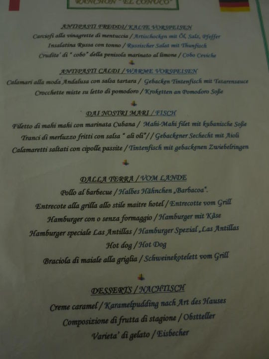 Teil der Mittagskarte im Poollokal Melia Las Antillas - Adults only
