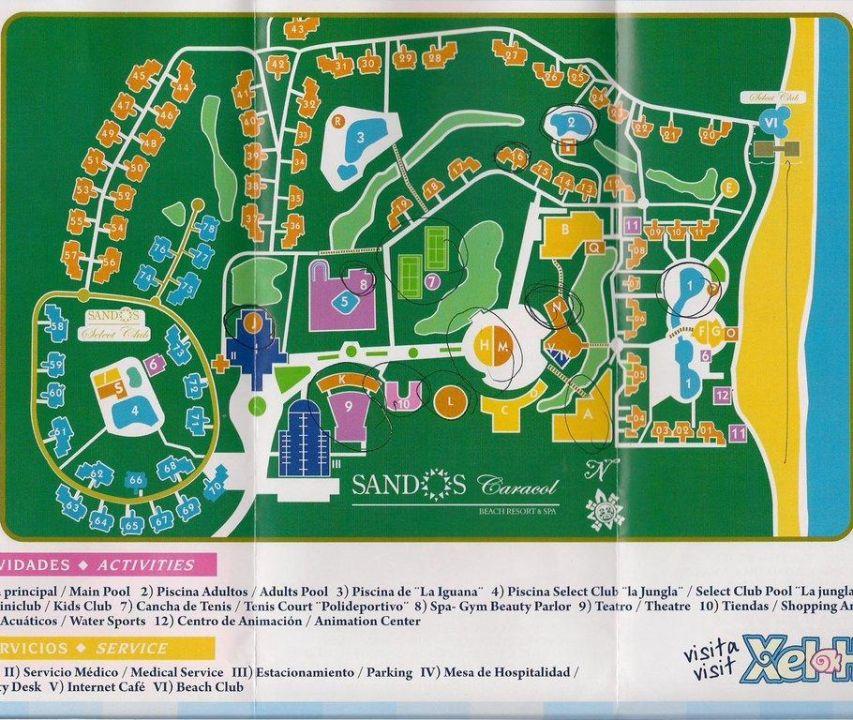 Sandos Playacar Beach Resort Playa Del Carmen Map