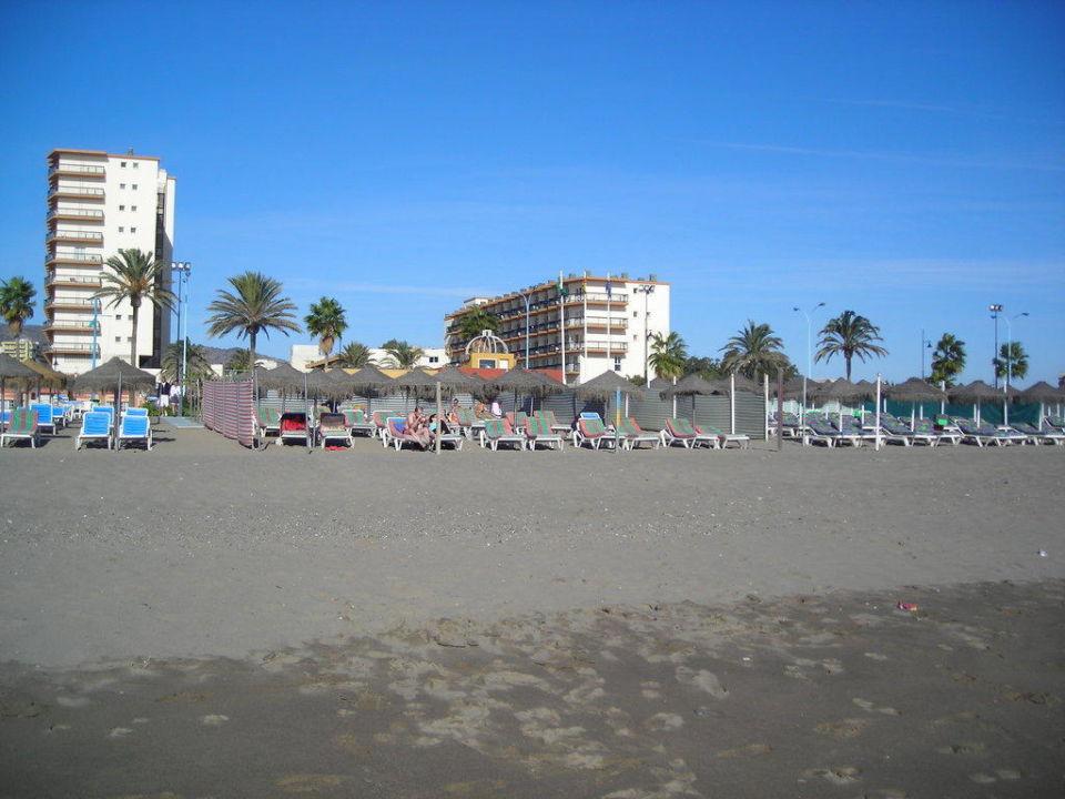 Blick Strand zum Hotel Hotel Riu Belplaya  (Vorgänger-Hotel – existiert nicht mehr)