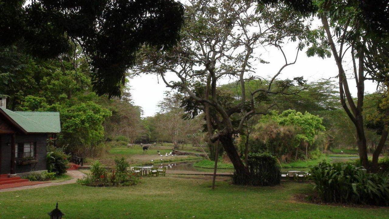Sicht vom Hauptgebäude auf den Garten/Tierpark Hotel Mount Meru Game Lodge