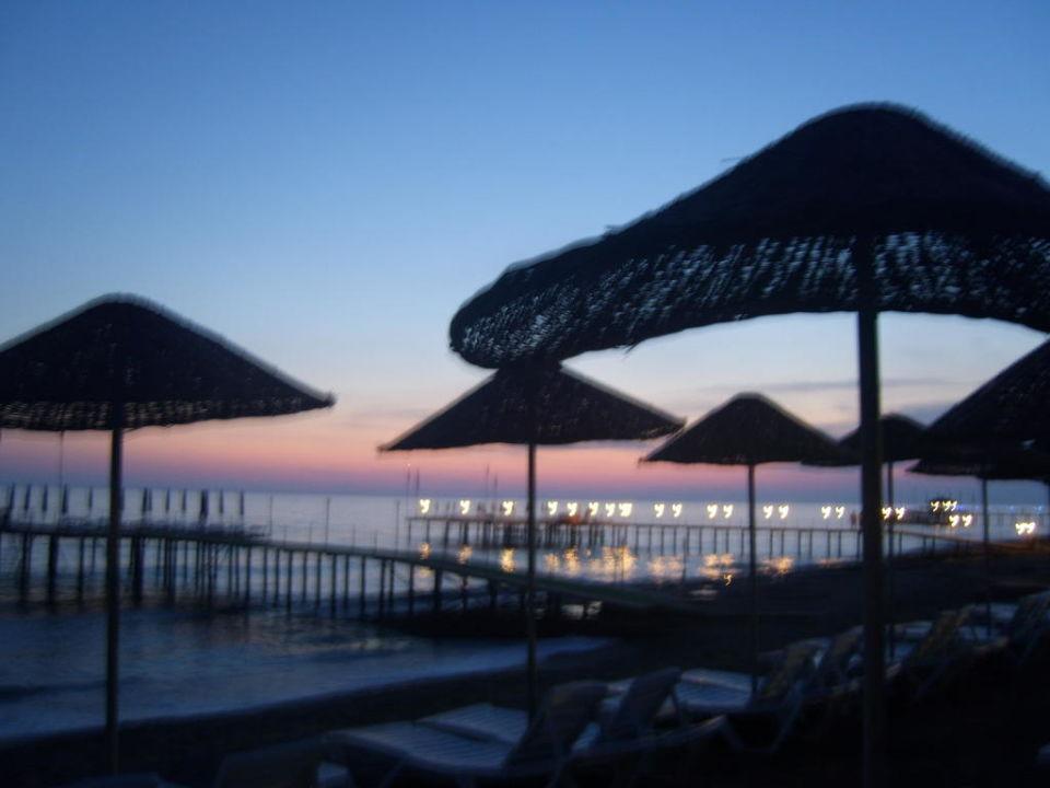 Hotelstrand beim Sonnenuntergang Hotel Club Dizalya