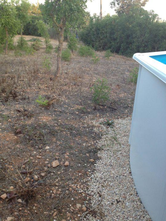 Steiniger verschmutzter Boden neben Pool Finca Kalotta
