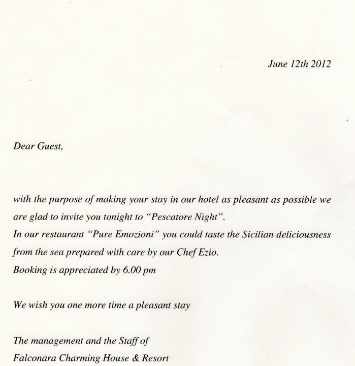 """einladung zum abendessen"""" falconara charming house resort & spa in, Einladung"""