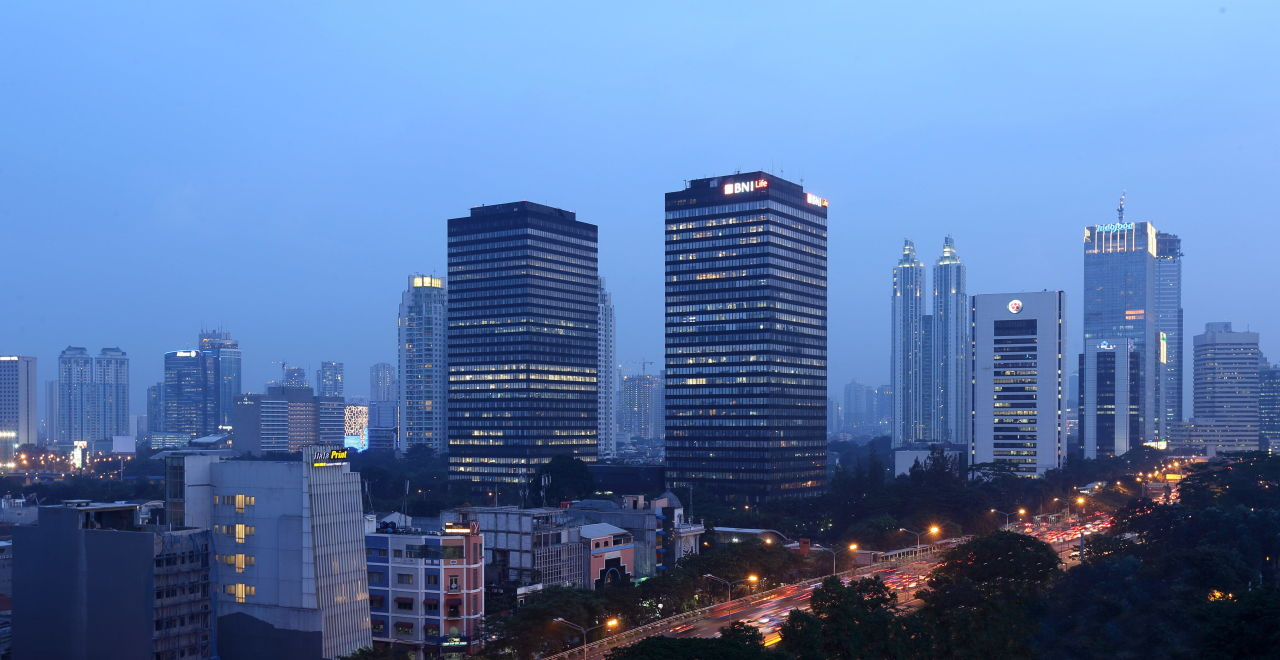 View from Hotel at Night Holiday Inn Express Jakarta Thamrin