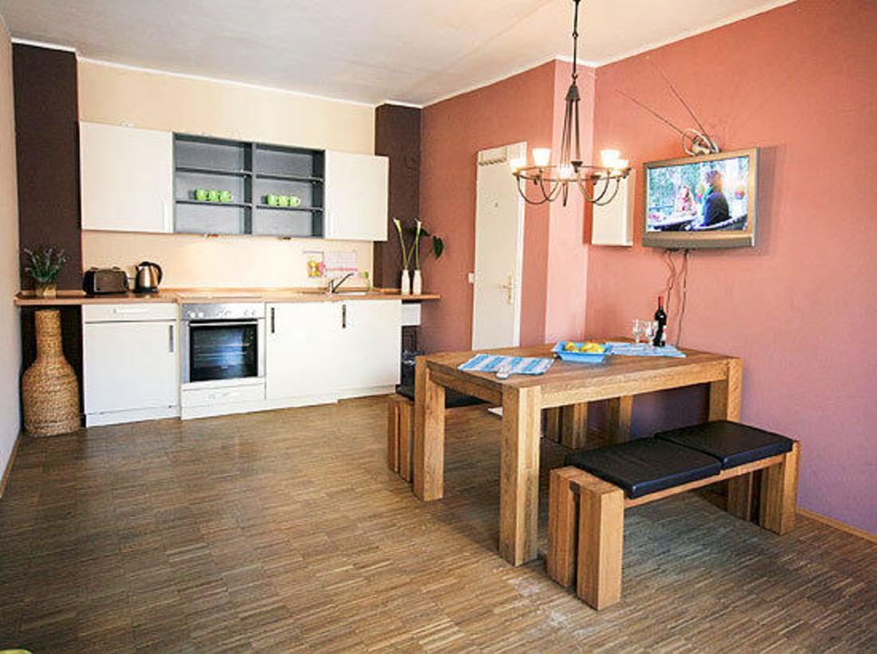 Grosser Wohnraum mit Küche,Esstisch und Schlafsofa\