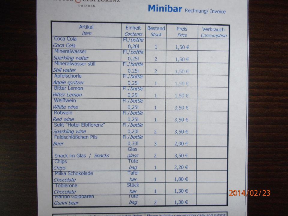 Preisliste - günstige Preise für Getränke \