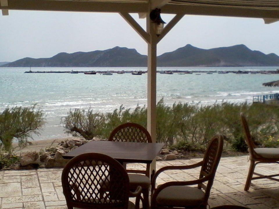 Terrasse mit Blick auf Sapientza Hotel Methoni Beach