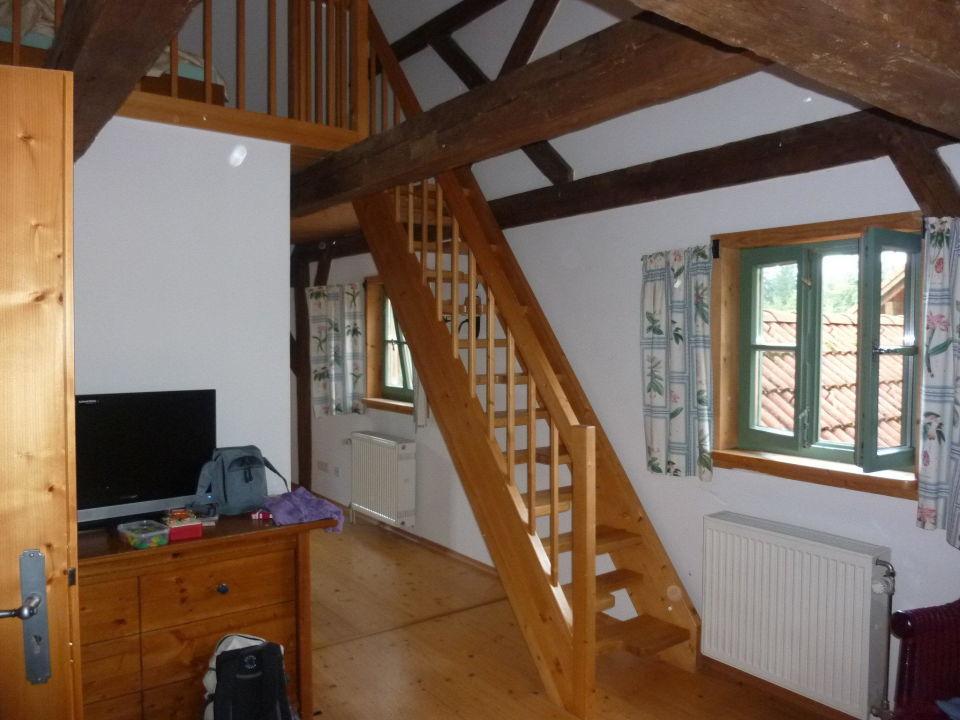 bild bett oben zu hotel zwieseler waldhaus in lindberg. Black Bedroom Furniture Sets. Home Design Ideas