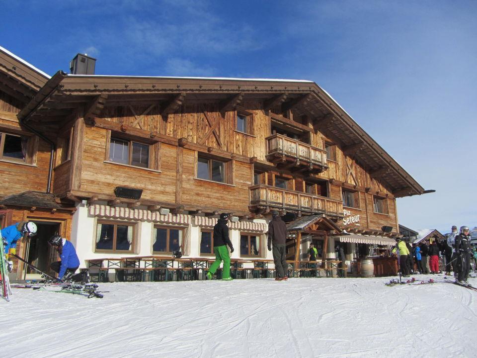 Hotel von der Piste aus Piz Seteur