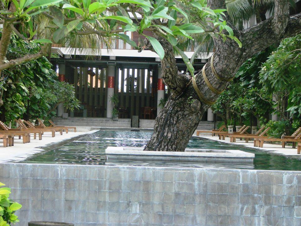 La piscine vue de la plage Hotel The Oasis Benoa Beach Resort
