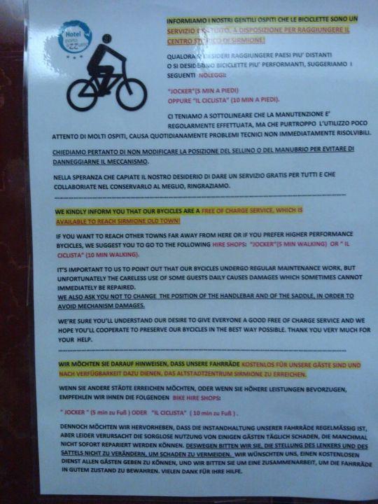 Fahrräder kostenlos, aber nur 3 Stunden Hotel Porto Azzurro