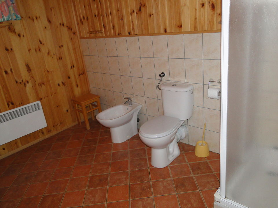Bad im Holzhaus mit der Dusche\