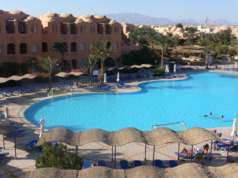 Ausblick auf Poolanlage Jaz Makadi Oasis Club & Resort