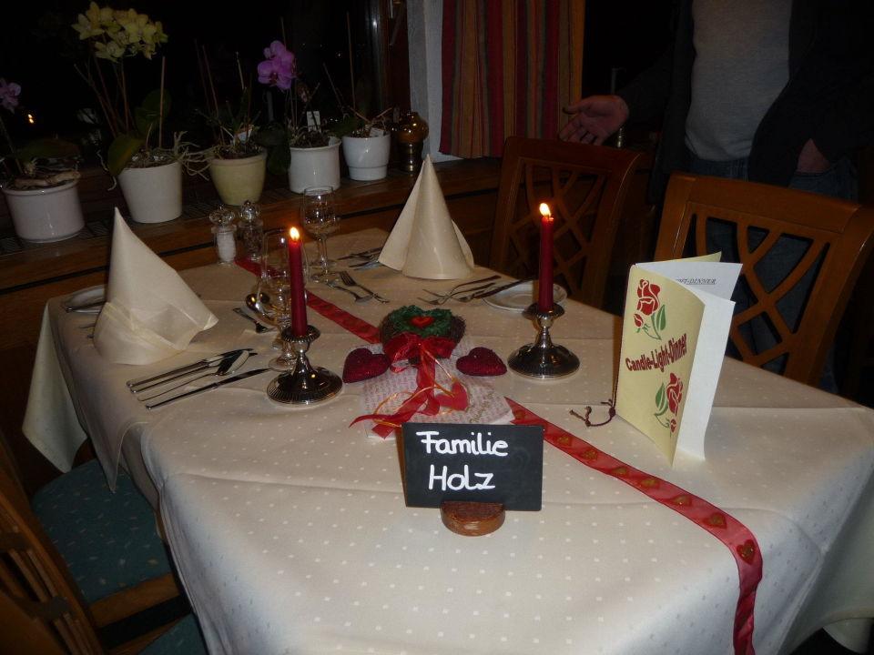 Tischdeko Candlelight Dinner Hotel Winterhaldenhof Schenkenzell