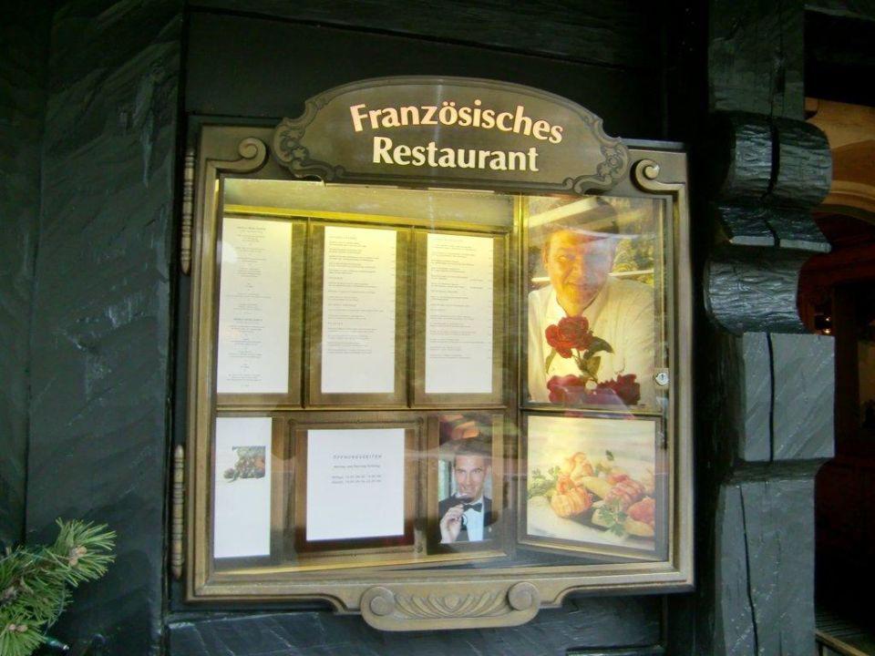 Schaukasten Französisches Restaurant Hotel Traube Tonbach