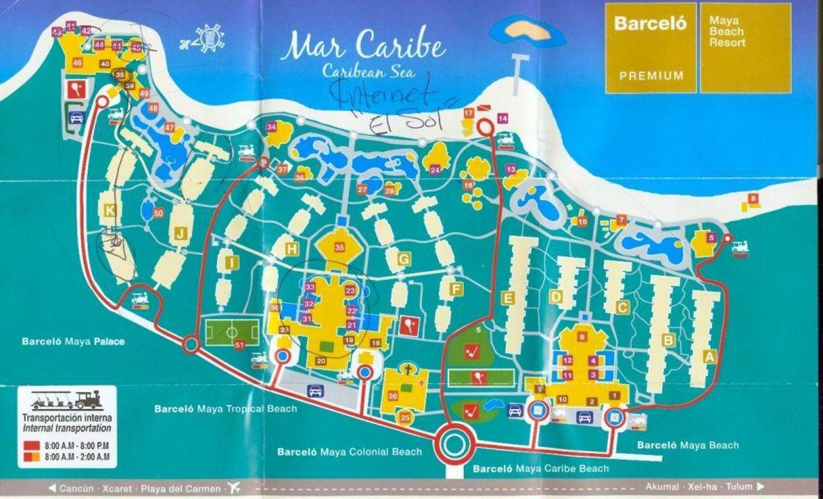 Lageplan des Barceló Maya Beach Resort\