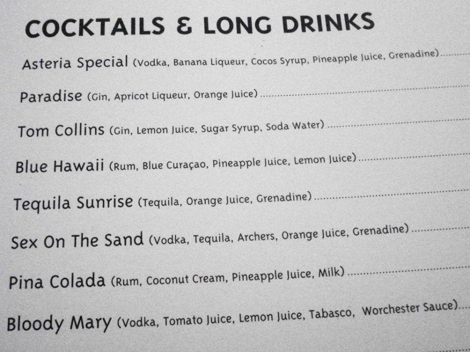 Getränke-Karte in den Bars\