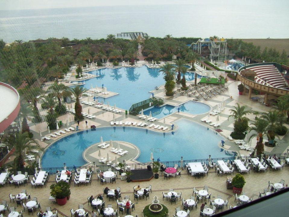 Blick auf Poolanlage und Meer Hotel Delphin Palace