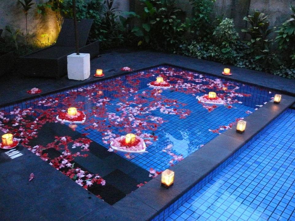 Romantic Rosepetal and Candlelit Pool Kamuela Villas & Suites Sanur