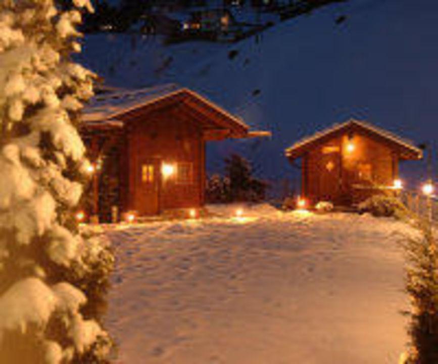 Blockhaussauna Winteransicht Hotel Alpin Spa Tuxerhof
