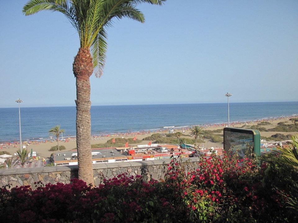 bild balkon st hle tisch w schest nder zu apartments nogalera in playa del ingles. Black Bedroom Furniture Sets. Home Design Ideas