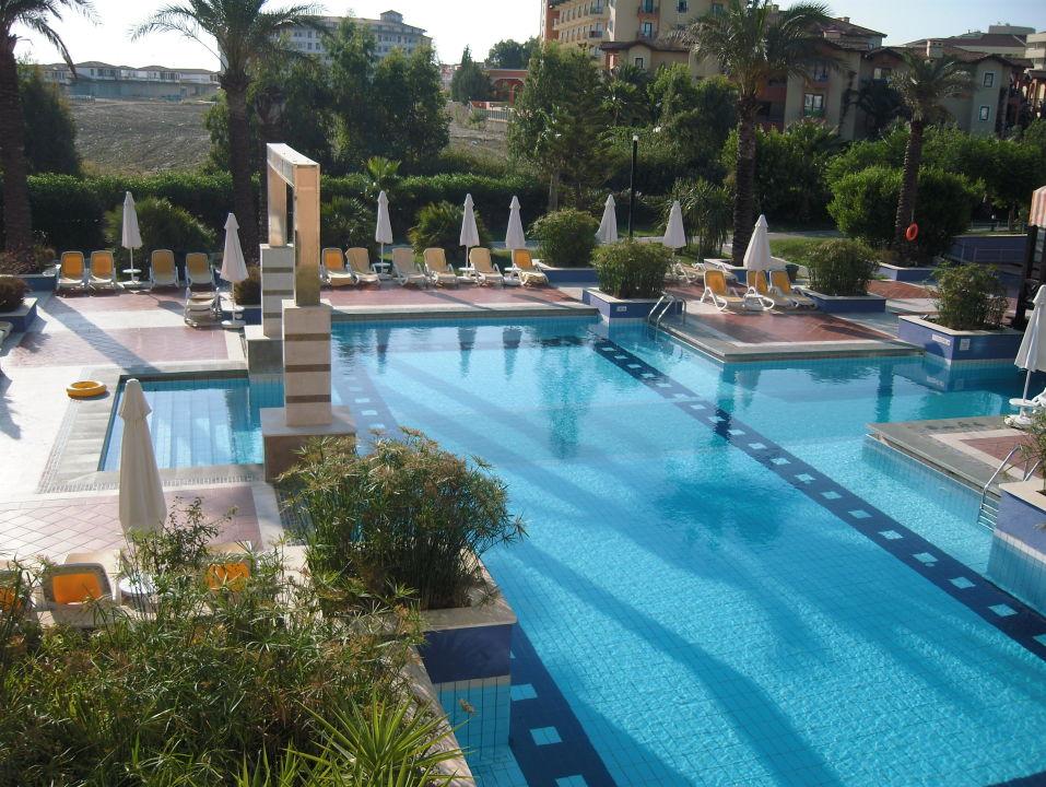 aussicht vom balkon auf den pool lti xanthe resort spa. Black Bedroom Furniture Sets. Home Design Ideas