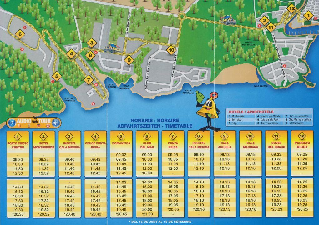 Fahrplan Bimmelbahn Blau Punta Reina Resort Manacor