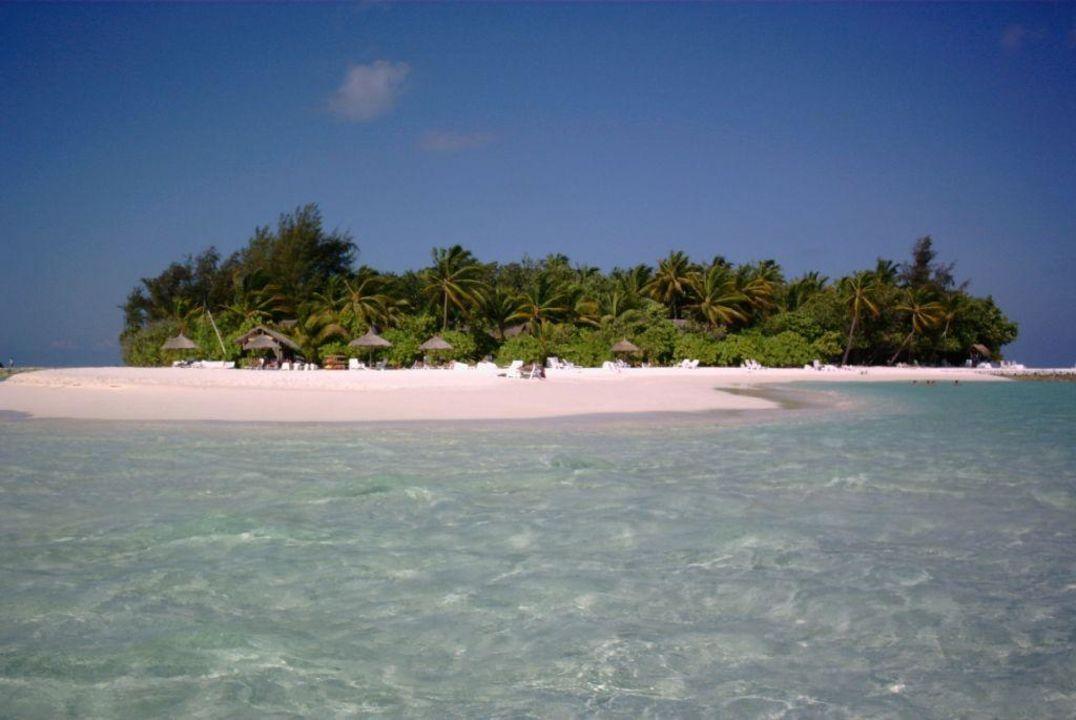 Blick auf Bungis/Strand Maayafushi Resort