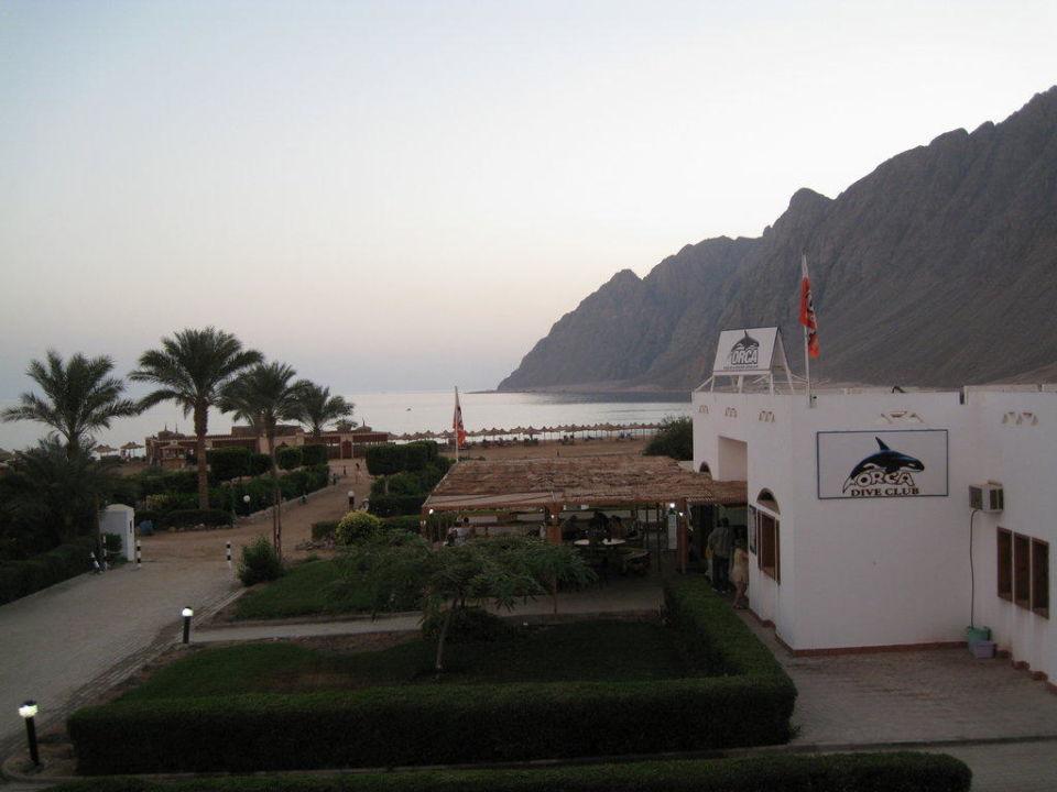 Blick vom Zimmer Richtung Tauchbasis / Meer Hotel Happy Life Village