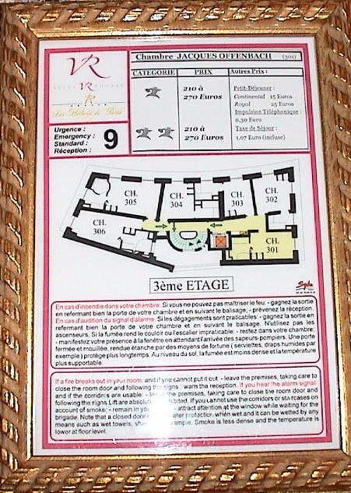 Fluchtplan Villa Royale Paris 4 Sterne  Villa Royale