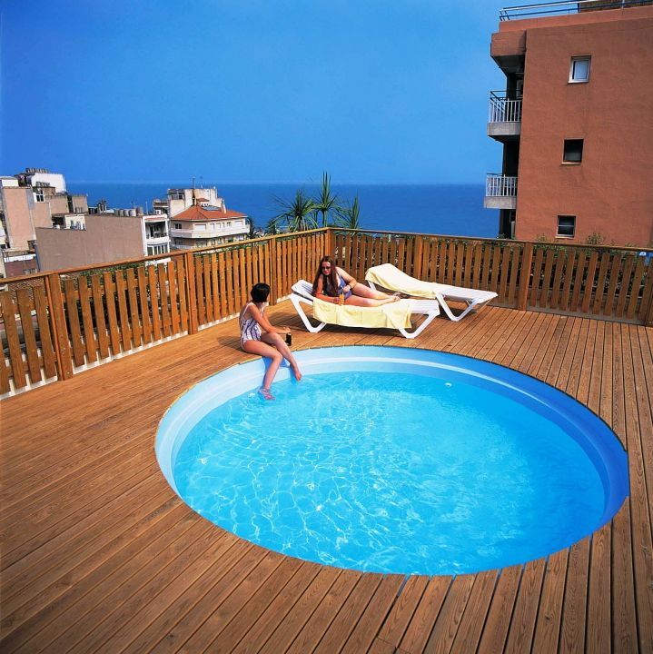 kleinen pool auf dem dach hotel les palmeres calella holidaycheck katalonien spanien. Black Bedroom Furniture Sets. Home Design Ideas