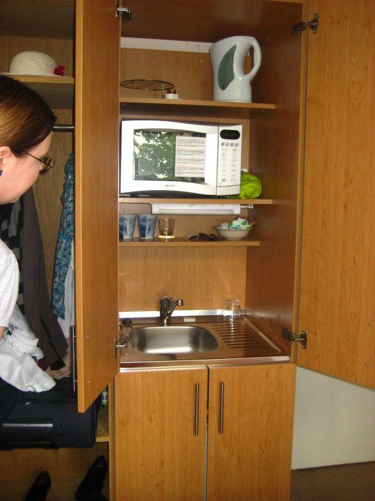 Spüle und Mikrowelle im Schrank\