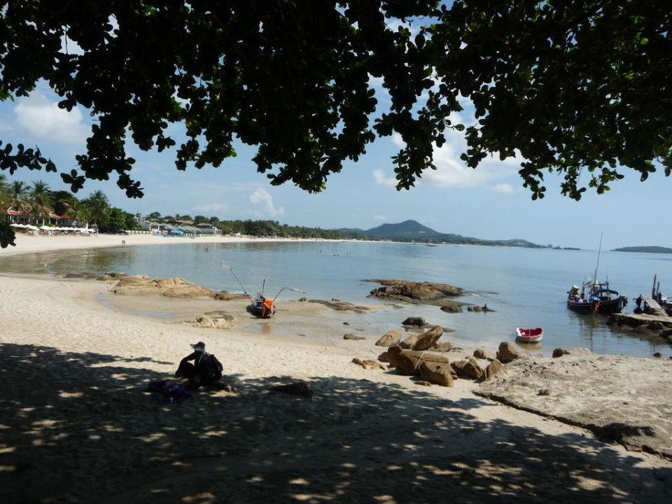 Blick auf den Chaweng Strand vom Restaurant aus ge Hotel First Bungalow Beach Resort